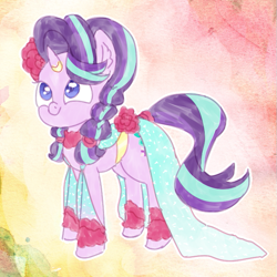 Size: 651x651 | Tagged: artist needed, safe, starlight glimmer, pony, unicorn, clothes, drawthread, dress, gala dress, solo