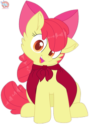 Size: 773x1080 | Tagged: safe, artist:rainbow eevee, apple bloom, adorabloom, bow, cape, cheek fluff, clothes, cute, eyelashes, female, filly, looking at you, open mouth, orange eyes, simple background, sitting, smiling, smiling at you, solo, solo female, transparent background, vector