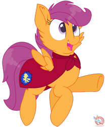 Size: 875x1055 | Tagged: safe, artist:rainbow eevee, scootaloo, pegasus, cape, clothes, crusader, eyelashes, fantasy class, female, filly, flying, knight, open mouth, paladin, purple background, raised hoof, scootalove, simple background, solo, spread wings, transparent background, underhoof, vector, warrior, wings