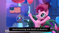 Size: 800x450 | Tagged: safe, edit, edited screencap, screencap, pinkie pie, pony, hello pinkie pie, balloon, female, flag, gumball machine, mare, meme, memri tv, mood whiplash, plant, smiling, solo, usa flag