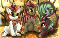 Size: 5100x3300 | Tagged: safe, artist:gleamydreams, autumn blaze, cinder glow, maple brown, summer flare, kirin, pony, awwtumn blaze, cinderbetes, cloven hooves, cute, ear fluff, high res, kirinbetes, looking at each other, one eye closed, open mouth, playing, raised hoof, sitting, smiling, trio