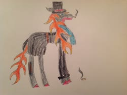 Size: 2592x1936 | Tagged: safe, artist:makarosc, oc, oc only, oc:scorch ember, dragon, fire pony, hybrid, longma, pony, cigarette, clothes, hat, horns, overcoat, scarf, top hat, traditional art