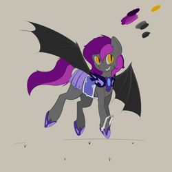 Size: 4000x4000 | Tagged: safe, artist:blueblaze95, oc, oc only, oc:manny, bat pony, pony, amber eyes, armor, armor skirt, bat pony oc, black wings, cute, fangs, female, hoof blades, mare, multicolored mane, multicolored tail, night guard, reference sheet, simple background, skirt, smiling, solo, wings