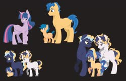 Size: 5100x3300 | Tagged: safe, artist:camsdart, first base, flash sentry, twilight sparkle, oc, unnamed oc, alicorn, earth pony, pegasus, pony, unicorn, black background, blank flank, blushing, colt, female, filly, flashlight, glasses, male, mare, missing cutie mark, offspring, parent:flash sentry, parent:twilight sparkle, parents:flashlight, shipping, siblings, simple background, stallion, straight, twilight sparkle (alicorn)
