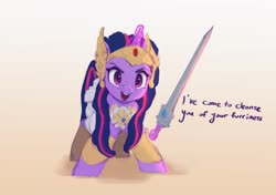 Size: 2891x2033 | Tagged: safe, artist:vanillaghosties, twilight sparkle, pony, armor, clothes, cosplay, costume, crossover, cute, dialogue, female, glowing horn, horn, looking at you, magic, mare, she-ra, solo, sword, talking to viewer, telekinesis, twiabetes, weapon