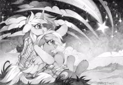 Size: 2048x1418 | Tagged: safe, artist:share dast, oc, oc only, pegasus, pony, unicorn, blanket, duo, female, floppy ears, mare, monochrome, shooting star, smiling, stargazing