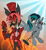 Size: 2000x2197 | Tagged: safe, artist:aleximusprime, oc, oc:blackgryph0n, demon, pegasus, alastor, birthday gift, blackgryph0n, bowtie, clothes, crossover, fire, floating, flying, hat, hazbin hotel, light, microphone, singing, suit