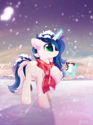 Size: 1731x2309 | Tagged: safe, artist:mirtash, oc, oc only, pony, unicorn, chocolate, clothes, food, hot chocolate, magic, marshmallow, mug, outdoors, scarf, snow, snowfall, solo, telekinesis