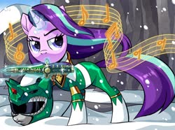 Size: 2048x1522 | Tagged: safe, artist:centchi, starlight glimmer, pony, unicorn, clothes, dragon dagger, glowing horn, green ranger, horn, knife, kyoryu sentai zyuranger, mighty morphin power rangers, music notes, power rangers, snow, solo, windswept mane