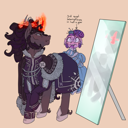 Size: 3000x3000 | Tagged: safe, artist:sourcherry, king sombra, oc, earth pony, pony, unicorn, cape, clothes, crown, fur, horseshoes, jewelry, magic, mirror, nameless oc, pincushion, regalia