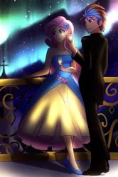 Size: 2048x3076 | Tagged: safe, artist:jonfawkes, fluttershy, oc, human, equestria girls, bare shoulders, canon x oc, canterlot castle, clothes, dress, female, gala dress, glass, grand galloping gala, humanized, humanized oc, male, romance, romantic, shipping, sleeveless, starry night, straight, strapless, wine glass