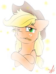 Size: 778x1024 | Tagged: safe, artist:yuris, applejack, pony, solo