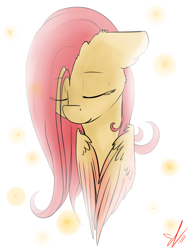 Size: 778x1024 | Tagged: safe, artist:yuris, fluttershy, pegasus, pony, abstract background, bust, eyes closed, female, floppy ears, mare, portrait, solo, stray strand, three quarter view, wings