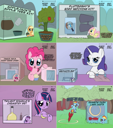 Size: 2002x2254 | Tagged: safe, artist:wadusher0, applejack, fluttershy, pinkie pie, rainbow dash, rarity, twilight sparkle, earth pony, pegasus, pony, unicorn, binoculars, cupcake, dexterous hooves, easy bake, food, lawn dart, mane six, sewing machine, vial, watering can