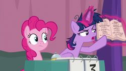 Size: 1920x1080   Tagged: safe, screencap, pinkie pie, twilight sparkle, alicorn, earth pony, a trivial pursuit, spoiler:s09e16, bell, book, duo, female, females only, insanity, mare, scoreboard, twilight snapple, twilight sparkle (alicorn)
