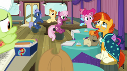 Size: 1920x1080 | Tagged: safe, screencap, applejack, cheerilee, cranky doodle donkey, cup cake, golden crust, granny smith, midnight snack (character), pinkie pie, sunburst, twilight sparkle, alicorn, a trivial pursuit, spoiler:s09e16, bell, friendship student, twilight sparkle (alicorn)