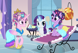 Size: 1107x754 | Tagged: safe, artist:queencold, princess cadance, rarity, twilight sparkle, alicorn, alternate hairstyle, ceremonial headdress, clothes, commission, crystal empire, crystal spa, dress, mirror, twilight sparkle (alicorn)