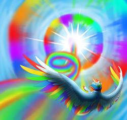 Size: 2100x2000 | Tagged: safe, artist:twilightmeep, rainbow dash, pegasus, pony, colored wings, epic, female, flying, mare, multicolored wings, rainbow wings, sky, solo, sonic rainboom, spread wings, wings