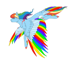 Size: 1000x800 | Tagged: safe, artist:twilightmeep, rainbow dash, pegasus, pony, colored wings, eyes closed, female, flying, hooves, mare, multicolored wings, rainbow wings, simple background, solo, spread wings, white background, wings