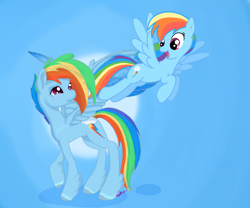 Size: 2640x2192 | Tagged: safe, artist:fluffdragonart, rainbow dash, pegasus, pony, leak, spoiler:g5, female, flying, g4, g4 to g5, g5, hooves, mare, rainbow dash (g5), raised hoof, redesign, simple background, smiling, spread wings, wings
