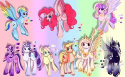 Size: 1743x1080 | Tagged: artist needed, source needed, safe, applejack, fluttershy, pinkie pie, princess cadance, princess celestia, princess luna, rainbow dash, rarity, twilight sparkle, alicorn, bat pony, bat pony alicorn, earth pony, pegasus, pony, unicorn, leak, spoiler:g5, applejack (g5), coat markings, colored hooves, colored wings, crown, earth pony fluttershy, female, fluttershy (g5), flying, g5, glasses, hat, hooves, jewelry, mane six, mane six (g5), mare, multicolored hooves, multicolored wings, necklace, pegasus pinkie pie, pinkie pie (g5), princess celestia (g5), princess luna (g5), race swap, rainbow dash (g5), rainbow wings, raised hoof, rarity (g5), redesign, regalia, simple background, smiling, spread wings, twilight sparkle (g5), unicorn twilight, wings