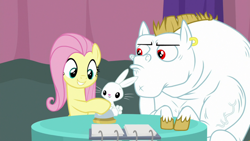 Size: 1920x1080 | Tagged: safe, screencap, angel bunny, bulk biceps, fluttershy, a trivial pursuit, spoiler:s09e16, bell