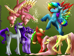 Size: 2801x2142 | Tagged: safe, artist:napleslocococo, applejack, fluttershy, pinkie pie, rainbow dash, rarity, twilight sparkle, earth pony, pegasus, pony, unicorn, leak, spoiler:g5, applejack (g5), colored wings, earth pony fluttershy, female, fluttershy (g5), flying, g5, hooves, jewelry, magic, magic aura, mane six, mane six (g5), mare, multicolored wings, necklace, palindrome get, pegasus pinkie pie, pinkie pie (g5), race swap, rainbow dash (g5), rainbow wings, raised hoof, rarity (g5), redesign, simple background, spread wings, twilight sparkle (g5), unicorn twilight, upside down, wings