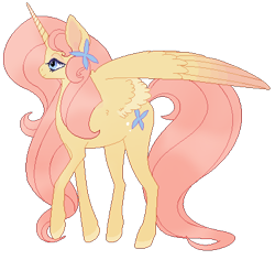 Size: 407x385 | Tagged: safe, artist:syrng, fluttershy, alicorn, pony, leak, spoiler:g5, female, fluttershy (g5), g5, hooves, mare, raised hoof, redesign, simple background, solo, spread wings, transparent background, wings