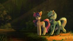 Size: 2329x1300 | Tagged: safe, artist:koviry, bon bon, lyra heartstrings, sweetie drops, earth pony, pony, unicorn, duo, forest, water