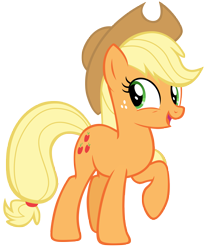 Size: 6039x7292 | Tagged: safe, artist:andoanimalia, applejack, earth pony, pony, non-compete clause, absurd resolution, cowboy hat, cute, cutie mark, female, freckles, happy, hat, jackabetes, mare, open mouth, raised hoof, simple background, solo, stetson, transparent background, vector