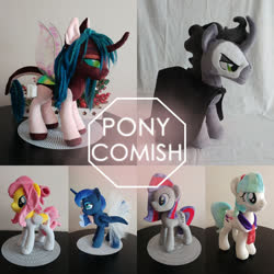 Size: 960x960 | Tagged: safe, artist:dixierarity, coco pommel, king sombra, princess luna, oc, oc:soest sound, alicorn, pegasus, pony, unicorn, commission, for sale, plushie, your character here
