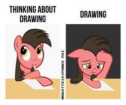 Size: 3780x3150 | Tagged: safe, artist:mrkat7214, oc, oc only, oc:ace play, earth pony, pony, facial hair, floppy ears, goatee, high res, male, meme, paper, pencil, ponified meme, solo, stallion, vector