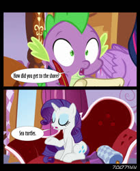 Size: 640x781 | Tagged: safe, edit, edited screencap, editor:teren rogriss, screencap, rarity, spike, twilight sparkle, alicorn, dragon, pony, unicorn, ppov, carousel boutique, fainting couch, movie reference, pirates of the caribbean, quill, twilight sparkle (alicorn)
