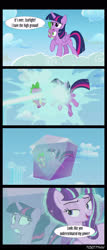 Size: 1288x3000 | Tagged: safe, edit, edited screencap, editor:teren rogriss, screencap, spike, starlight glimmer, twilight sparkle, alicorn, dragon, pony, unicorn, the cutie re-mark, cloud, crystal, encasement, frozen, high ground, movie reference, revenge of the sith, star wars, twilight sparkle (alicorn)