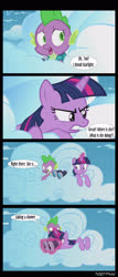 Size: 1288x3000 | Tagged: safe, edit, edited screencap, editor:teren rogriss, screencap, spike, starlight glimmer, twilight sparkle, alicorn, dragon, pony, unicorn, the cutie re-mark, binoculars, cloud, implied starlight glimmer, offscreen character, shocked, twilight sparkle (alicorn)