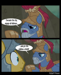 Size: 640x781 | Tagged: safe, edit, edited screencap, editor:teren rogriss, screencap, captain ironhead, flash magnus, pegasus, pony, campfire tales, avengers: infinity war, beard, facial hair, helmet, movie reference
