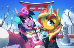 Size: 4096x2650 | Tagged: safe, artist:anticular, sunset shimmer, twilight sparkle, alicorn, pony, unicorn, bubble tea, clothes, cold, cup, cute, drink, drinking, drinking straw, duo, ear fluff, earmuffs, female, glowing horn, high res, horn, jacket, japan, looking at you, magic, mare, open mouth, selfie, smiling, snow, telekinesis, twilight sparkle (alicorn), winter, winter outfit