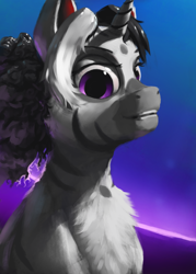 Size: 1000x1400 | Tagged: safe, alternate version, artist:eqlipse, oc, oc only, zebra, zebracorn, bust, female, mare, painterly, portrait