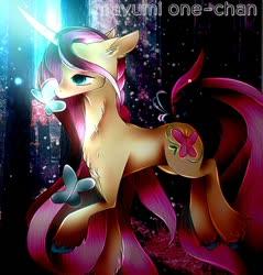 Size: 564x590 | Tagged: safe, artist:kiraone-chan, fluttershy, pony, unicorn, leak, spoiler:g5, female, fluttershy (g5), g5, hooves, horn glowing, mare, raised hoof, redesign, simple background, solo, unicorn fluttershy