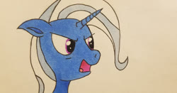 Size: 1280x671 | Tagged: safe, artist:polar_storm, trixie, pony, unicorn, angry, bust, colored sketch, female, grumpy, mare, purple eyes, simple background, sketch, solo, traditional art, white background, yelling