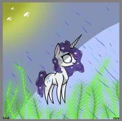 Size: 828x820 | Tagged: safe, artist:kittycatrittycat, rarity, pony, unicorn, female, grass, lipstick, pointy ponies, rain, shading practice, solo, sun, sweat