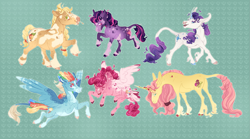 Size: 3285x1825 | Tagged: safe, artist:tokenfolly, applejack, fluttershy, pinkie pie, rainbow dash, rarity, twilight sparkle, earth pony, pegasus, pony, unicorn, leak, spoiler:g5, alternate design, applejack (g5), coat markings, earth pony twilight, female, fluttershy (g5), flying, g5, happy, hooves, leonine tail, mane six, mane six (g5), mare, pegasus pinkie pie, pinkie pie (g5), pinto, race swap, rainbow dash (g5), raised hoof, rarity (g5), simple background, smiling, spread wings, straw in mouth, twilight sparkle (g5), unicorn fluttershy, wings