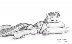 Size: 1800x1100 | Tagged: safe, artist:rockhoppr3, twilight sparkle, alicorn, semi-anthro, anatomically incorrect, bed, hug, incorrect leg anatomy, lying down, lying in bed, monochrome, pillow, pillow hug, sleeping, solo, twilight sparkle (alicorn)