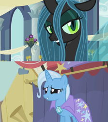 Size: 1280x1436   Tagged: safe, edit, screencap, queen chrysalis, trixie, a canterlot wedding, boast busters, female, lesbian, shipping, shipping domino, trixalis