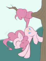 Size: 1535x2048 | Tagged: safe, artist:noupu, pinkie pie, earth pony, pony, cute, diapinkes, eyes closed, female, mare, prehensile tail, profile, smiling, solo, tree, tree branch