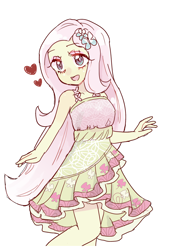 Size: 1494x2091 | Tagged: safe, artist:nemucure, fluttershy, equestria girls, legend of everfree, blushing, camp fashion show outfit, clothes, cute, dress, heart, no pupils, open mouth, pixiv, shyabetes, simple background, solo, white background
