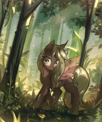 Size: 3174x3820 | Tagged: safe, artist:mirroredsea, oc, oc only, changeling, changeling oc, commission, female, forest, high res, looking at you, scenery, smiling, solo, spread wings, wings