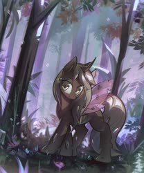Size: 3174x3820 | Tagged: safe, alternate version, artist:mirroredsea, oc, oc only, changeling, changeling oc, commission, female, forest, high res, looking at you, scenery, smiling, solo, spread wings, wings