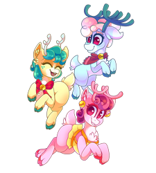 Size: 1800x2000 | Tagged: safe, artist:star-theft, alice the reindeer, aurora the reindeer, bori the reindeer, deer, reindeer, best gift ever, colored pupils, cute, eyes closed, female, heart eyes, open mouth, simple background, the gift givers, transparent background, trio, wingding eyes