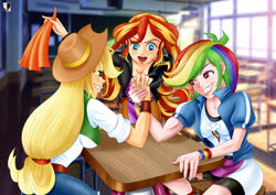 Size: 1414x1000 | Tagged: safe, artist:lord--opal, applejack, rainbow dash, sunset shimmer, human, equestria girls, arm wrestling, classroom, clothes, compression shorts, cowboy hat, hat, human coloration, skirt, stetson